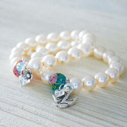 Personalised Pearl Bracelet with Silver Initial