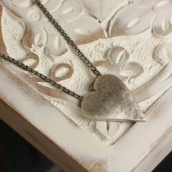Danon Silver Hammered Heart Necklace