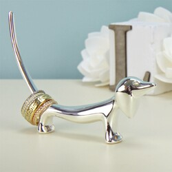 Silver Sausage Dog Ring Holder