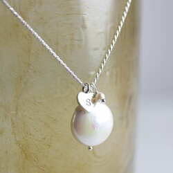 Personalised Sterling Silver Coin Pearl Necklace