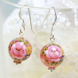 Rose Bead Earrings in Translucent Pink