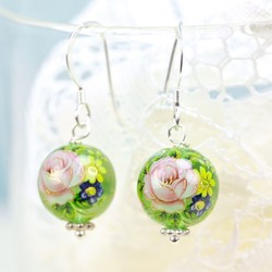Rose Bead Earrings in Translucent Green