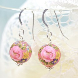 Frosted Pink Rose Bead Earrings