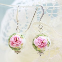 White Rose Bead Earrings with Pink Roses