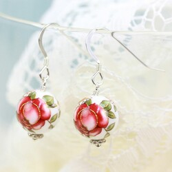White Rose Bead Earrings with Red Roses