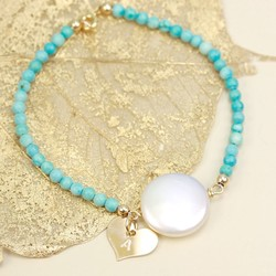 Personalised Coin Pearl Turquoise Bracelet