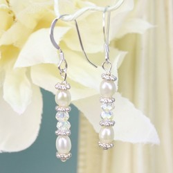 Handmade Crystal and Pearl Drop Earrings