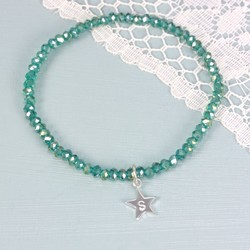 Emerald Green Mini Gem Bracelet with Heart, Square or Star Charm