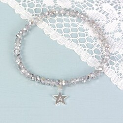 Silver Gem Bracelet with Heart, Square or Star Charm