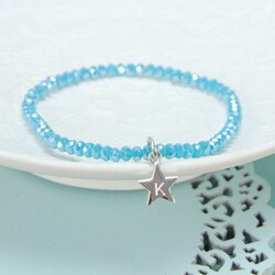 Turquoise Mini Gem Bracelet with Heart, Square or Star Charm