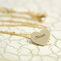 Personalised Gold Button Heart Name Necklace
