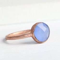 Lottie Rose Gold and Blue Chalcedony Ring