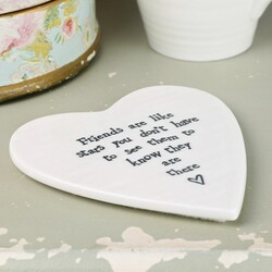 East of India 'Friends Are Like Stars' Heart Shaped Coaster