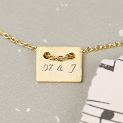 Personalised Engraved Initial Plate Necklace in Gold