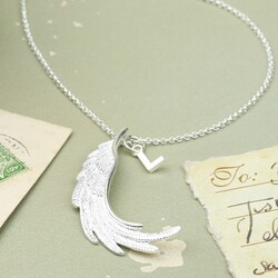 Longline Silver Wing Pendant Necklace with Initial