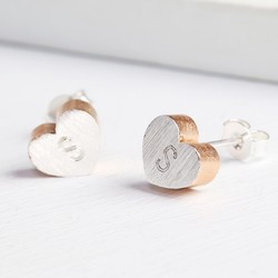 Personalised Rose Gold Dipped Brushed Silver Heart Studs