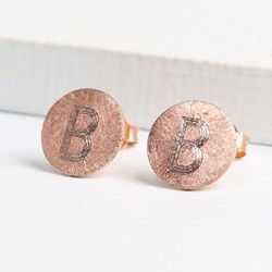 Engraved Initial Rose Gold Scratched Metal Flat Disc Earrings