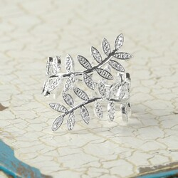 Silver Wrapped Fern Ring