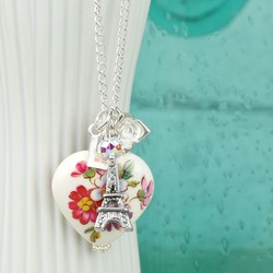 Personalised Heart, Tower and Rose Silver Necklace