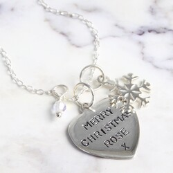 Personalised Sterling Silver Heart and Snowflake Charm Necklace