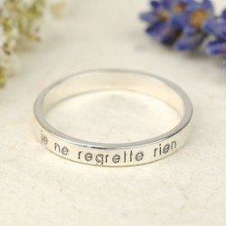 Sterling Silver 'Je Ne Regrette Rien' Engraved Ring