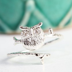 Adjustable Silver Owl Ring