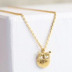 Personalised Gold Owl Pendant Necklace