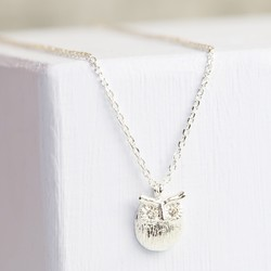 Personalised Silver Owl Pendant Necklace