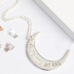 Personalised 'To The Moon and Back' Silver Necklace