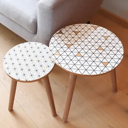 Monochrome & Gold Geometric Side Tables