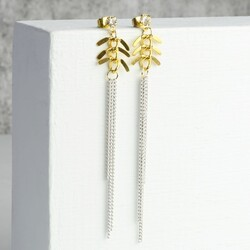 Leaf and Chain Drop Earrings
