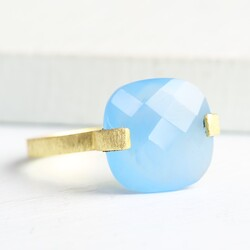 Iris Ring with Blue Chalcedony Stone