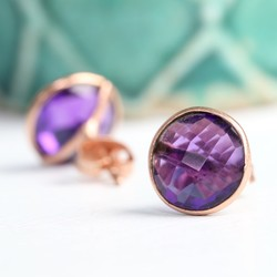Clare Amethyst Stone & Rose Gold Stud Earring