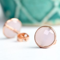 Clare Rose Chalcedony Stone & Rose Gold Stud Earrings
