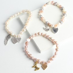 Personalised Freshwater Pearl Bracelet with Heart Charm