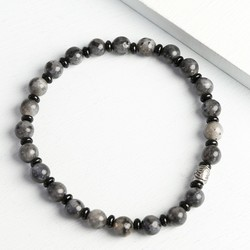 Men's Black and Grey Stone Beaded Bracelet