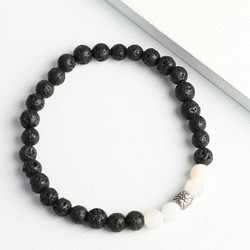 Men's Black and White Volcanic Stone Beads Bracelet