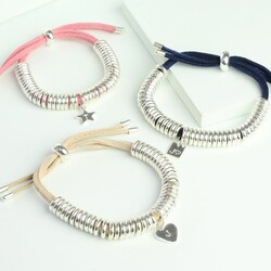 Personalised Suede Links Bracelet with Heart, Square or Star Charm