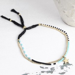 Estella Bartlett Phoebe Seed Bead Bracelet in Turquoise and Gold