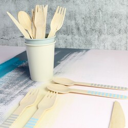 East of India 18 Piece Blue Striped Wooden Cutlery