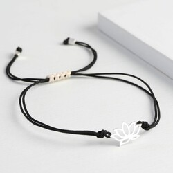 Black Cord Lotus Flower Bracelet