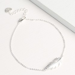 Personalised Silver Feather Bracelet