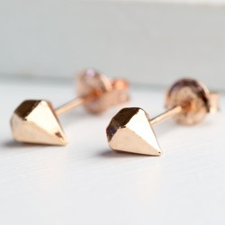Geometric Gem Stud Earrings in Rose Gold