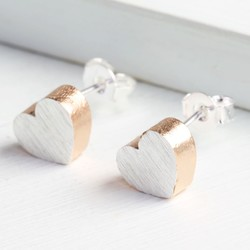 Rose Gold Dipped Brushed Silver Heart Studs