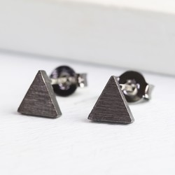Tiny Triangle Studs in Black