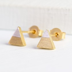 Tiny Dipped Triangle Earrings in Gold & Silver