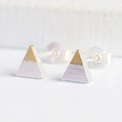 Tiny Dipped Triangle Earrings in Silver & Gold