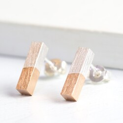 Rose Gold Dipped Silver Bar Earrings