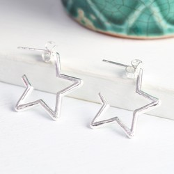 Silver Star Outline Hoops