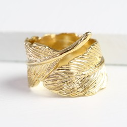 Gold Wrapped Feather Ring